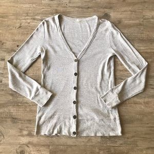J. CREW   GRAY BUTTON FRONT KNIT SWEATER CARDIGAN
